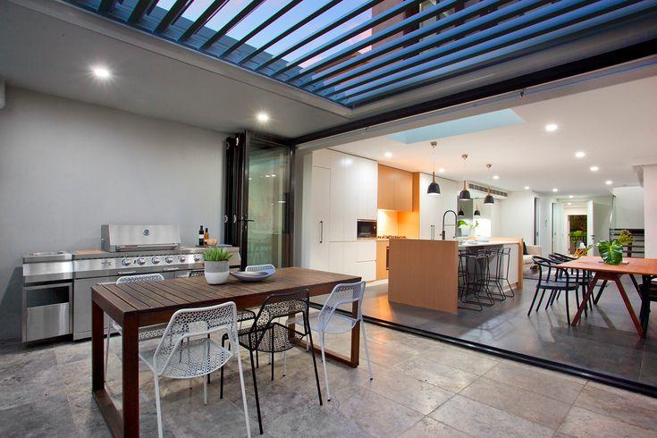 Stunning, new, luxury, modern, open plan, Alfresco dining, outdoor kitchen & BBQ, vergola, Pilcher Residential