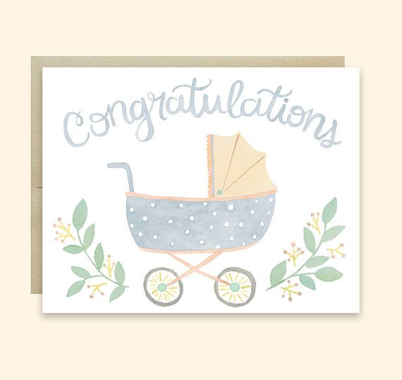 This cute Baby Pram Congratulations Card features a watercolor illustration of an adorable baby pram and the hand-lettered word Congratulations.
