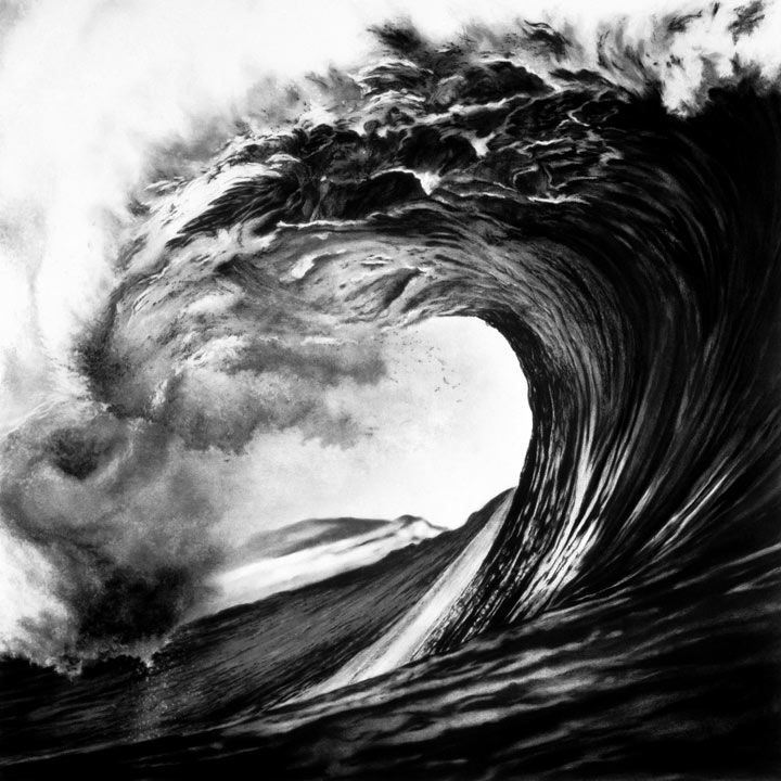 Robert Longo - UNTITLED (BACKDOOR PIPELINE, HAWAII, SPRING '99)  2000    Charcoal on mounted paper