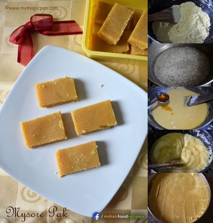 Easy Mysore Pak recipe step by step.  Mysore Pak is a traditional South Indian sweet made with generous amount of ghee and besan flour. It is perfect for special occasions.