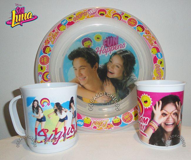 #Set #Bazar #SoyLuna #Plato #Vaso #Taza #Original #Disney #CosasDeChicos www.CosasDeChicos.com
