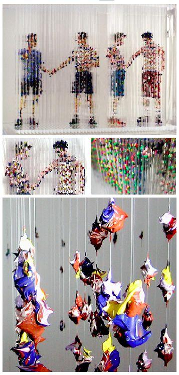 Chris Dorosz, Passing Through, 2008, acrylic paint dripped onto plastic rods