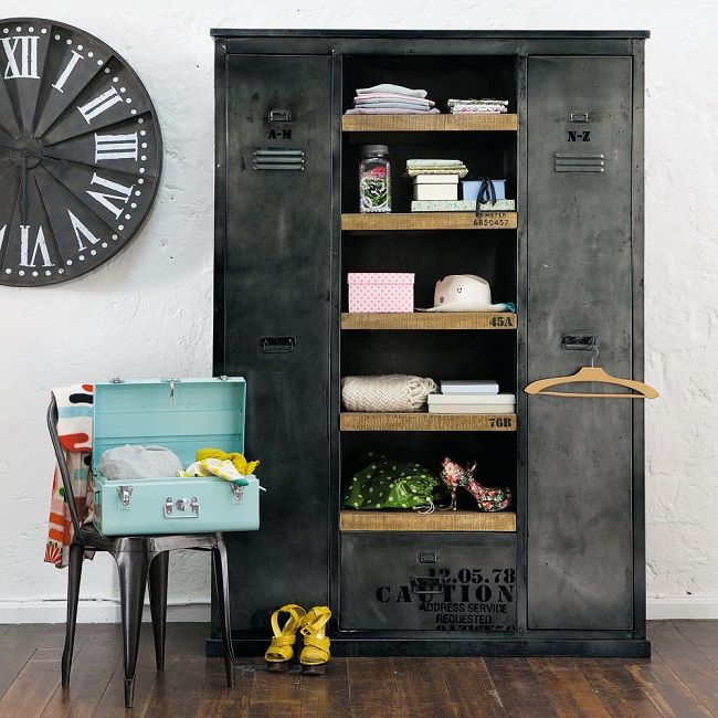 vintage industrial furniture single indus wardrobe manufacture - Industrial Vintage Wohnhaus Loft Stil