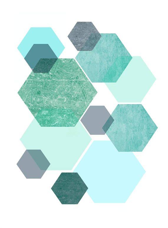 Triptych, Blue Abstract Art, Geometric Prints, Set of 3 Prints, Scandinavian Art, Giclee prints, Wall Art, Wall Decor, Home Decor – Intan Sari
