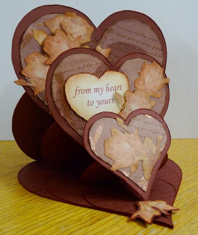 Card Making Paradise Part - 27: Tripple Heart Easle Greeting Card Template