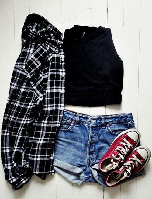 summer casual outfit - denim shorts, converse, crop top  plaid shirt