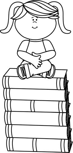Black and White Girl Sitting on Books Clip Art - Black and White Girl Sitting on Books Image