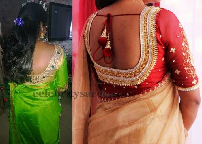 Elbow Length Back Neck Blouses   Saree Blouse Patterns