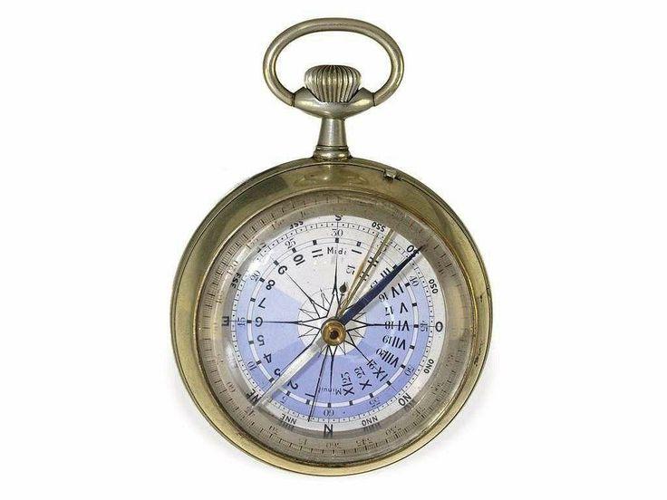 very rare French marine navigation watch with compass, Montre Boussole du Capitaine Vincent No.5077, ca. 1900 Ca. Ø 69 mm, ca. 251 g, origin...