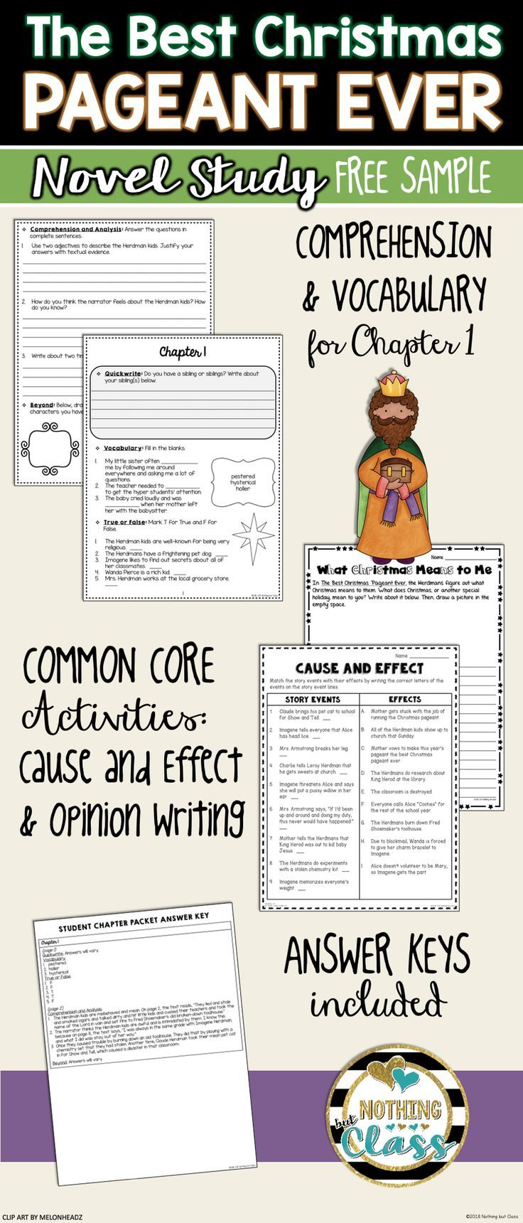 The Best Christmas Pageant Ever Novel Study Unit: FREE Sample ...