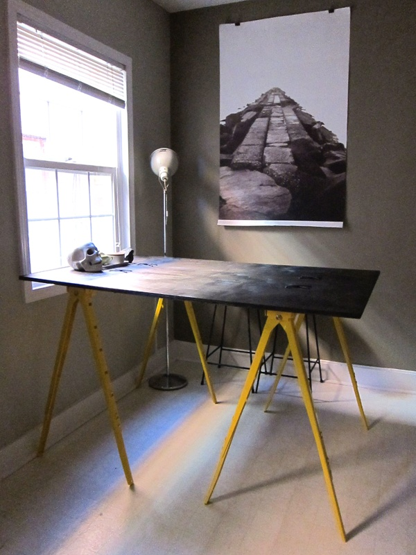 diy industrial desk two steel sawhorses from home depot