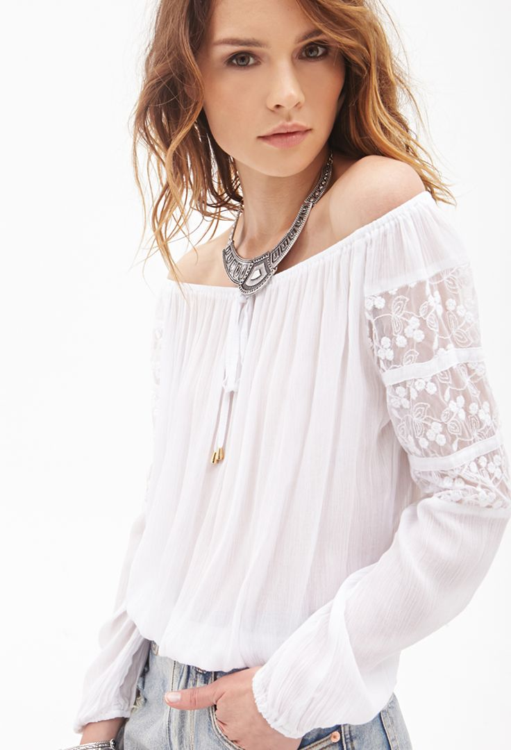 Crochet-Paneled Peasant Top #F21StatementPiece $22.90 click on pic to go to website, size small