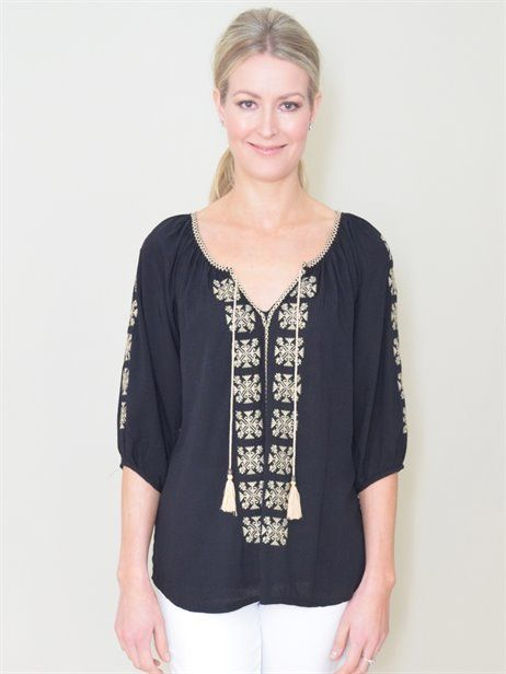 CUTE PEASANT TOP - Flower Clothing - Black & Cream - Hippy Styling