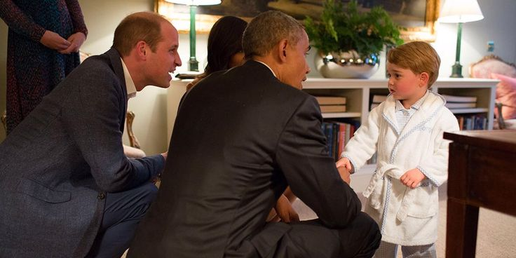 "Barack Obama Prince George. ""Even some foreign leaders have been giving me grief. Last week, Prince George showed up to our meeting in his bathrobe."" Obama joked that he seems to be losing some of his clout in his final months as president. During his trip to Europe last week, Obama met with dignitaries throughout the region, including the young Prince George, son of Prince William and Dutchess of Cambridge Kate Middleton."