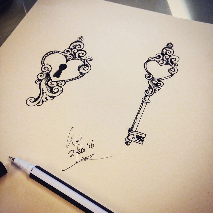 Be a true Valentine!  Deze combi-tattoo voor slechts 50 euro per stuk (alleen in februari). love / heart en key Tattoo Made by linda Roos - Da Linci Art, Zwijndrecht - The Netherlands www.dalinciart.nl