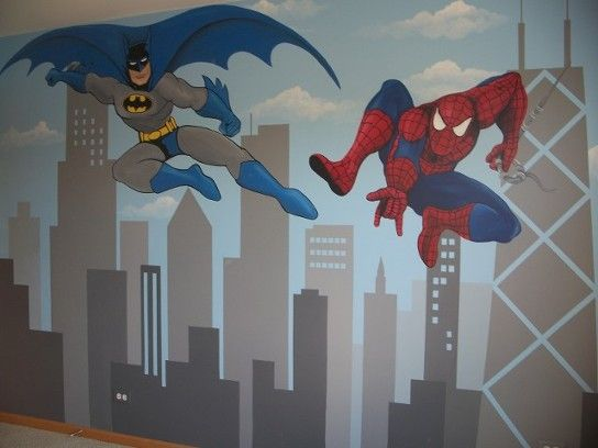 Batman & Spiderman Mural by Leslie Michaels - Superheros Murals - Kids Room Murals 2012