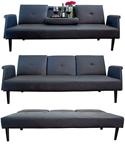 Best of Leather Sofa Bed with Tray and Cup Holders Black Contemporary Futon Bed Gorgeous Real Leather with Fresh - Luxury best reclining sofa reviews Lovely