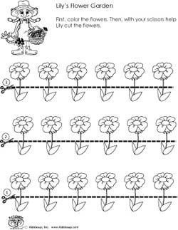 Preschool scissors skills worksheet flower garden