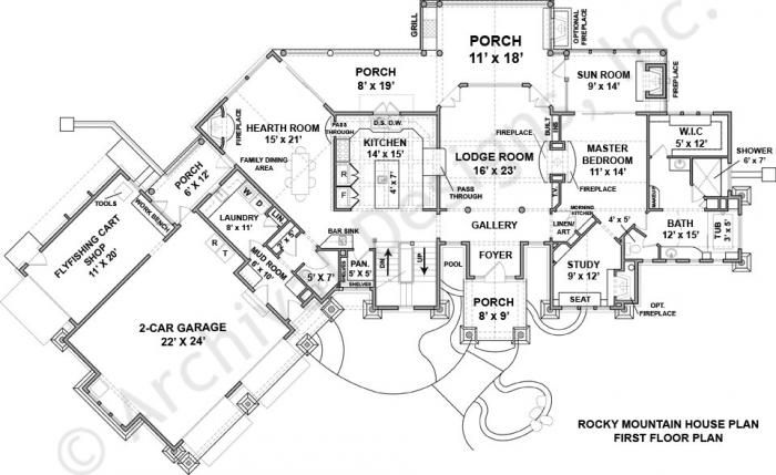 1000 images about house design on pinterest house plans for Mountain lodge floor plans