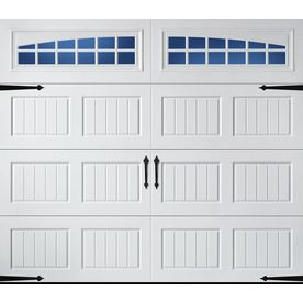 Pella Carriage House Series 96-in x 84-in Insulated White Single Garage Door with Windows on sales as of 4/21/16 $542.81