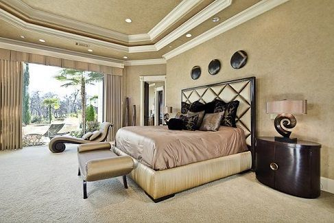 Through two French doors, enter the master suite with  trey ceiling with recessed lighting and crown molding, access to the veranda, and large windows. Lay  here and read as the light shines through. - See more at: http://www.thehousedesigners.com/plan/cordillera-9767/ #houseplan #homeplan #dreamhome #homesearch #design #blueprint #floorplan
