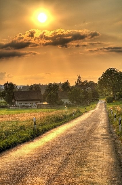 Sun down road