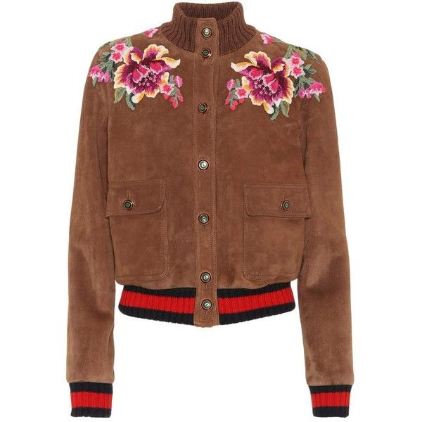 Gucci Embroidered Suede Jacket ($3,295) ❤ liked on Polyvore featuring outerwear, jackets, brown, gucci, embroidery jackets, suede jacket, brown suede leather jacket and gucci jacket