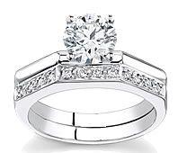 14K White Gold Diamond Matching Engagement Set (0.10ctw) by Novori