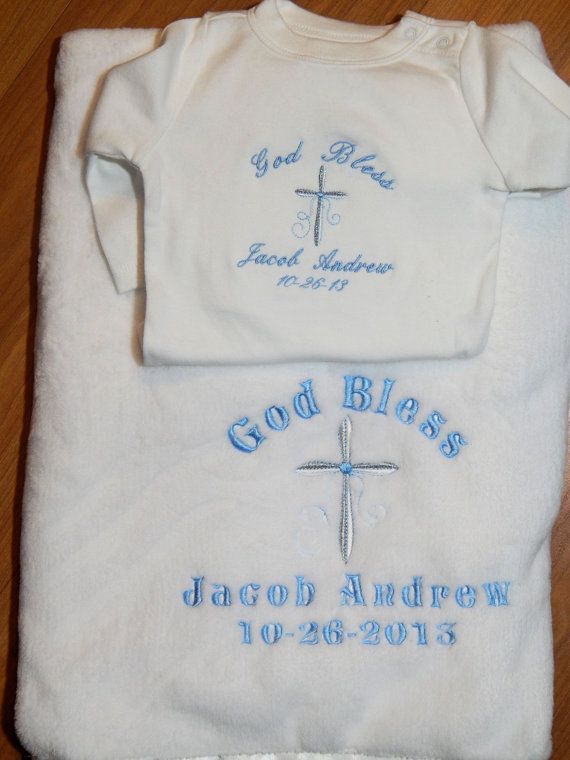 Baptism / Christening Blanket and Bodysuit for after the Event by EmbroiderybySharon $36.00