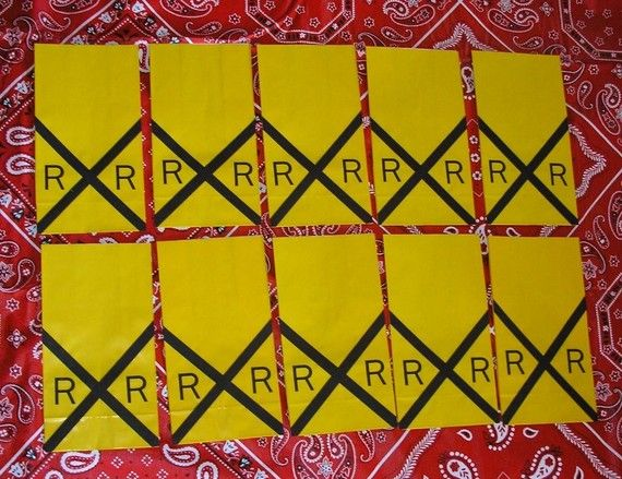 Railroad Sign Train Theme Birthday Party Favor Treat by jettabees, $15.00