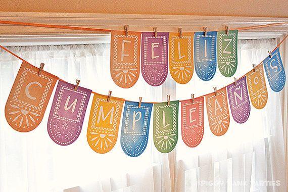 FIESTA Feliz Cumpleaños Banner : DIY Printable Spanish Happy Birthday Party Decoration - Instant Download
