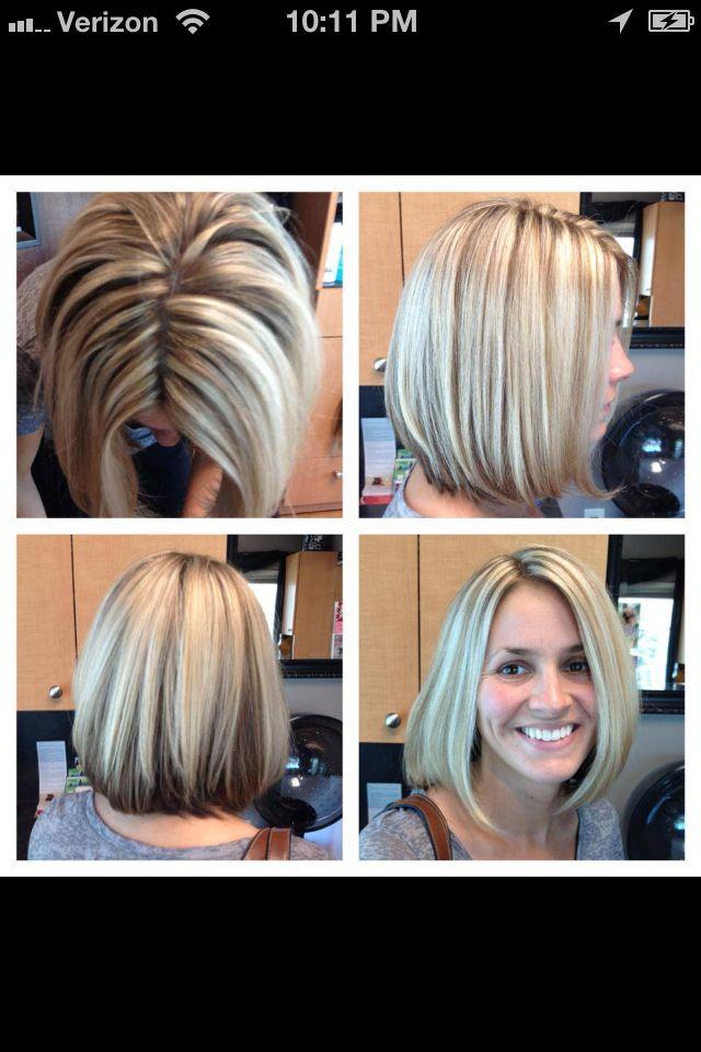 Chunky White Blonde Highlights And Long Bob Haircut Hair