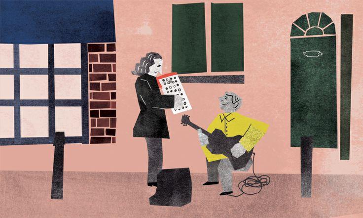 UK / Brick lane  busking, illustration, street, guitar, accordion, vintage,musician, - yonacity