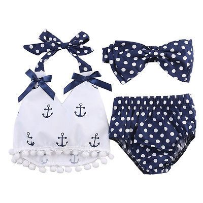 3 Unids/set Bebés Infantiles Ropa Ancla Tops + Polka Dot Bragas + Head Band Trajes Set Sunsuit 0-24 M
