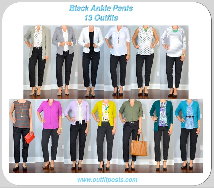 outfit post: 13 outfits with black ankle pants