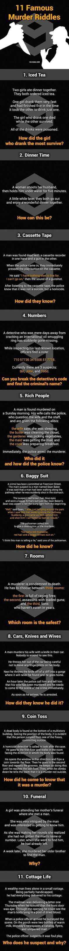 """11 Murder Mystery Riddles. Can You Solve Them All?  1. The poison was in the ice. 2. She shot her husband with a camera and then developed the photo. 3. If the man shot himself while he was recording, how did he rewind the cassette tape? 4. Bill is the suspect, if read upside down the numbers read """"Bill is boss. He sells oil."""" 5. There is no mail on Sundays. 6. How can the murderer shoot him in the stomach if he came up behind the man? 7. The room with the lions because they would have now…"""