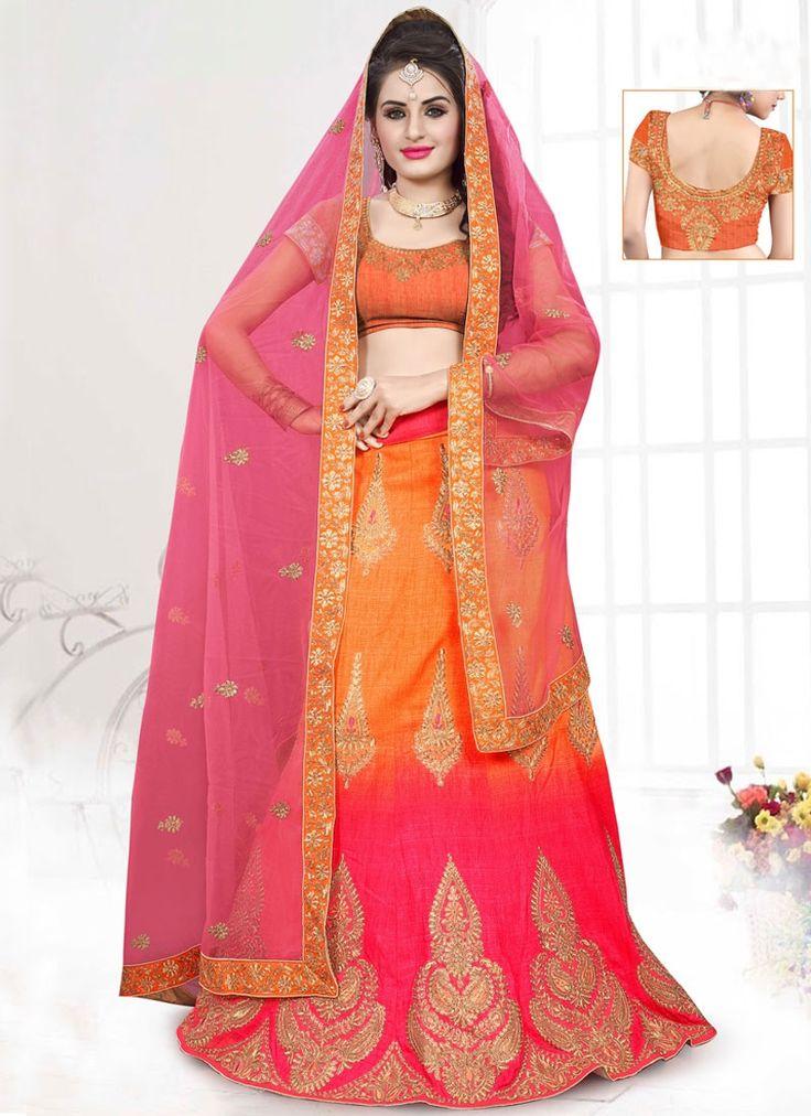 Buy Savory Orange Patch Border Work A Line Lehenga Choli, Online #ethnic #indianethnic #indianethnicwear #indianwedding #bridalwear #indianoutfit #indianfashion #lehenga #designerlehenga #designerwear