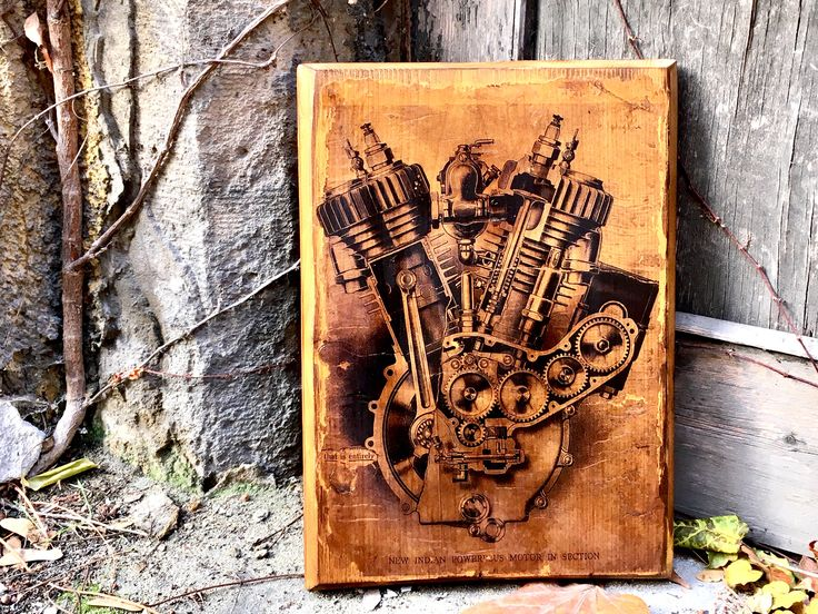 Excited to share the latest addition to my #etsy shop: Vintage Indian Powerplus Engine Wooden Picture Home Decor Wall Decor Motorcycle Art