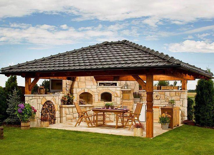 Con piedra y vigas de madera con tejado a cuatro aguas - Fotos de barbacoas de obra ...