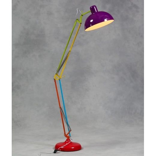 Large Desk Style Angled Floor Lamp Multicoloured