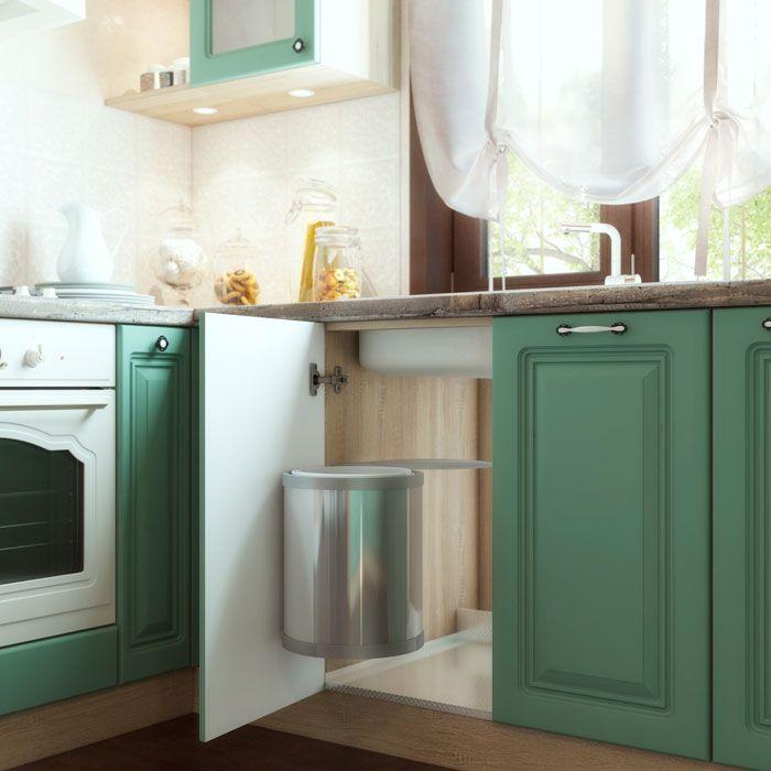 Дизайн кухни. Аквитания от TDM Модульная мебель.  Цвет фасада: софт бирюза. Цвет корпуса: дуб сонома. Кухня в деталях: контейнер для отходов и и гигиенический поддон под раковину. Прованс. #design #kichen #provence #декор   #spb #питер #интерьер