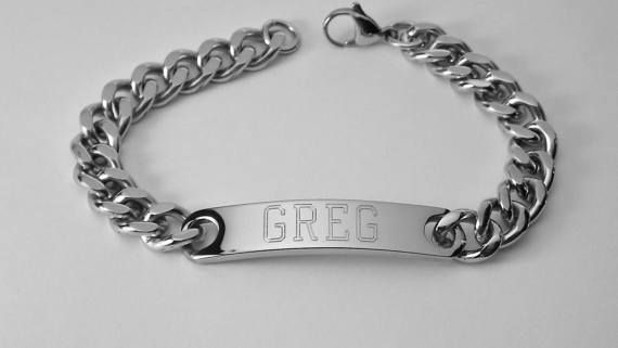 Mens ID Bracelet Personalized Custom Engraved 8 by AnniesHours