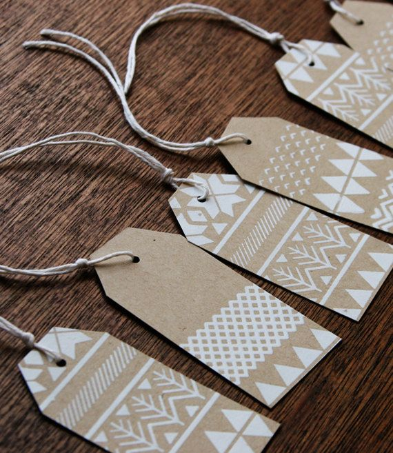 Fair Isle Holiday Gift tags, handmade, screen printed, kraft paper, pack of 15 tags. $10.00, via Etsy.