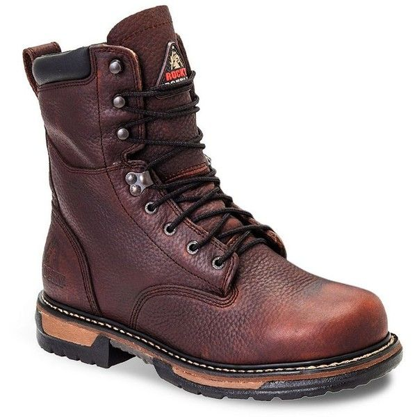 Rocky IronClad Men's 8-in. Waterproof Steel Toe Work Boots ($165) ❤ liked on Polyvore featuring men's fashion, men's shoes, men's boots, men's work boots, brown, mens brown leather lace up boots, mens lace up boots, extra wide mens boots, mens water proof boots and mens waterproof boots