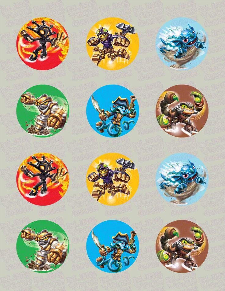 Skylanders Swap Force Inspired Edible Icing Cupcake Decor Toppers Set 2 - SSF2