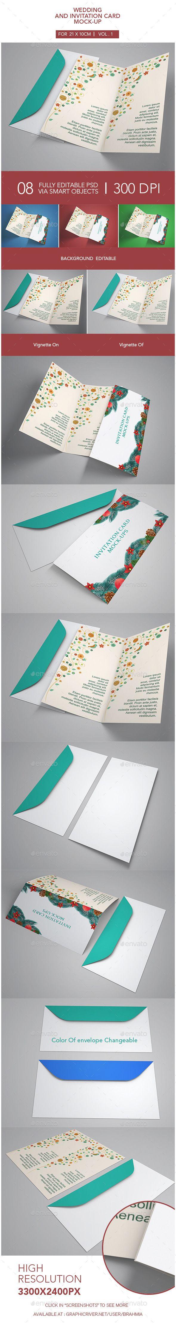 Invitation Card Mock-Up - suit display card  DL, Rack Cards size #mockups with envelopes