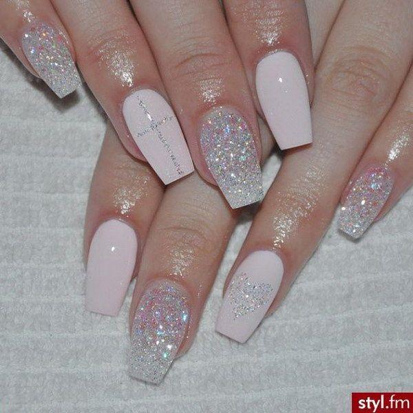 Blush Pink & Silver Glitter Nail Design.