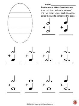 EASTER Music Math FREE download!