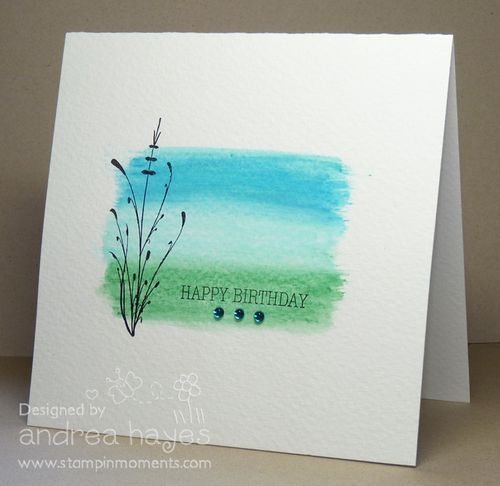 Scribble with watercolor pencils onto watercolor paper, lightly spritz, brush to blend each color. Let dry. Stamp.