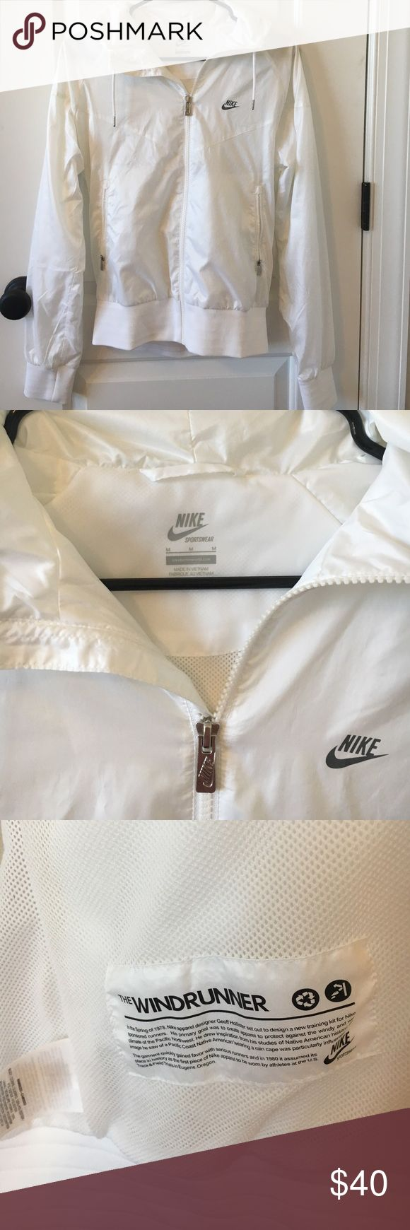 Nike Windrunner Jacket *Rare* All White Nike Windrunner jacket. Worn once. EUC! Size M. Smoke free home. Nike Jackets & Coats